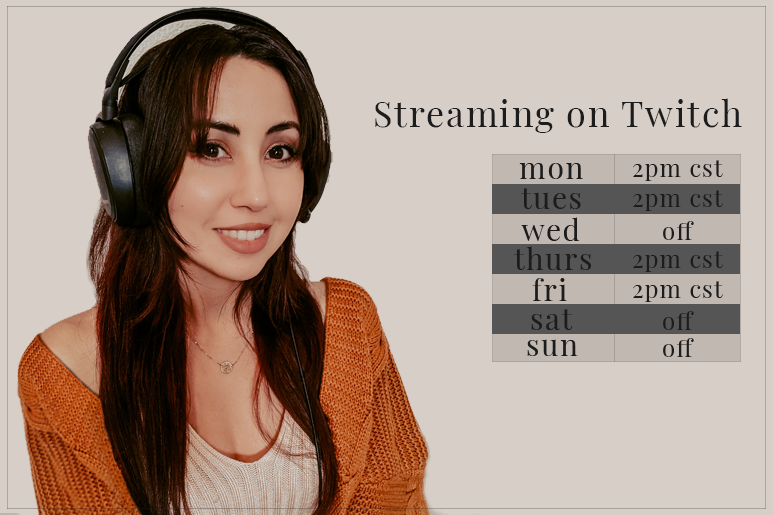 twitch.tv/traceycola schedule: monday, tuesday, thursday, friday 2pm cst